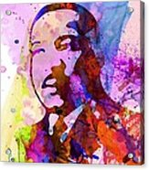Martin Luther King Jr Watercolor Acrylic Print by Naxart Studio