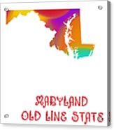 Maryland State Map Collection 2 Acrylic Print