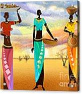 Masai Women Quest For Grains Acrylic Print