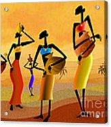 Masai Women Quest For Water Acrylic Print