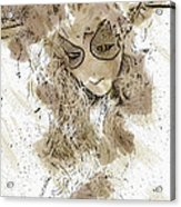 Mask Brown Water Sketch Acrylic Print