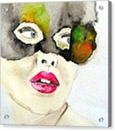 Mask In Watercolor Acrylic Print