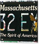 Massachusetts License Plate Acrylic Print