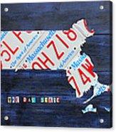 Massachusetts License Plate Map Acrylic Print