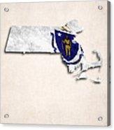 Massachusetts Map Art With Flag Design Acrylic Print