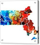 Massachusetts - Map Counties By Sharon Cummings Acrylic Print by Sharon Cummings
