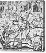 Massacre Of Christian Missionaries Acrylic Print by Theodore De Bry