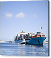 Massive Container Ship Entering River Mouth Assisted By Two Tugs Acrylic Print