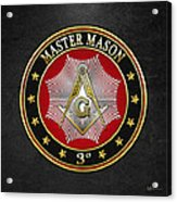 Master Mason - 3rd Degree Square And Compasses Jewel On Black Leather Acrylic Print
