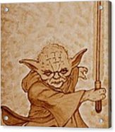 Master Yoda Jedi Fight Beer Painting Acrylic Print