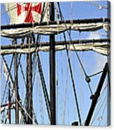 Masts And Rigging On A Replica Of The Christopher Columbus Ship  Acrylic Print