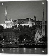 Matthias Church Night Bw Acrylic Print