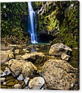 Maui Waterfall Acrylic Print by Adam Romanowicz