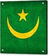 Mauritania Flag Vintage Distressed Finish Acrylic Print