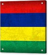 Mauritius Flag Vintage Distressed Finish Acrylic Print