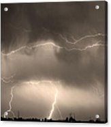May Showers - Lightning Thunderstorm Sepia 5-10-2011 Acrylic Print