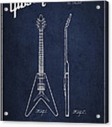 Mccarty Gibson Electric Guitar Patent Drawing From 1958 - Navy Blue Acrylic Print