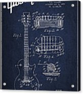 Mccarty Gibson Les Paul Guitar Patent Drawing From 1955 - Navy Blue Acrylic Print