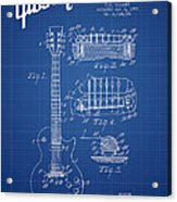 Mccarty Gibson Les Paul Guitar Patent Drawing From 1955 - Bluepr Acrylic Print