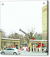 Mcgill Campus Student Cycles By Roddick Gates Sherbrooke St Montreal Winter Scene Carole Spandau  Acrylic Print
