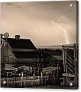 Mcintosh Farm Lightning Sepia Thunderstorm Acrylic Print by James BO  Insogna