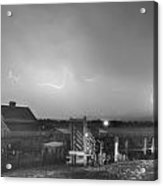Mcintosh Farm Lightning Thunderstorm View Bw Acrylic Print