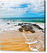 Meandering Waves On Tropical Beach Acrylic Print