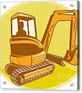 Mechanical Digger Excavator Retro Acrylic Print by Aloysius Patrimonio