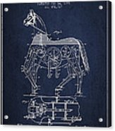 Mechanical Horse Patent Drawing From 1893 - Navy Blue Acrylic Print by Aged Pixel
