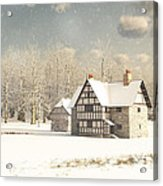 Medieval Farmhouse In Winter Snow Acrylic Print
