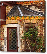 Medieval Window And Rose Bush In Germany Acrylic Print