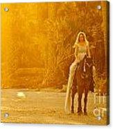 Medieval Woman On Horseback Acrylic Print