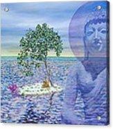 Meditation On Buddha Blue Acrylic Print by Dominique Amendola