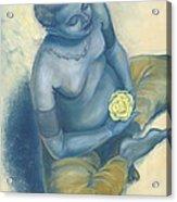 Meditation With Flower Acrylic Print by Judith Grzimek