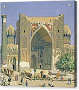 Medrasah Shir-dhor At Registan Place In Samarkand, 1869-70 Oil On Canvas Acrylic Print