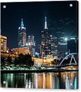 Melbourne In Night Acrylic Print