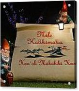 Mele Kalikimaka Sign And Elves Acrylic Print