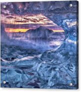 Melting Blue Crystal Acrylic Print