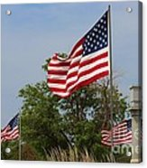 Memorial Day Flag's With Blue Sky Acrylic Print by Robert D  Brozek