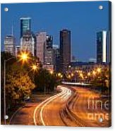 Memorial Drive And Houston Skyline Acrylic Print