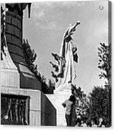 Memorial Statue Children Playing Juarez Chihuahua Mexico 1977 Black And White Acrylic Print