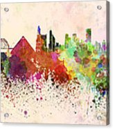 Memphis Skyline In Watercolor Background Acrylic Print