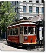 Memphis Trolley On Main Street Acrylic Print