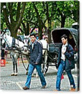 Men And Carriages In A Street Near Saint Sophia's In Istanbul-turkey Acrylic Print