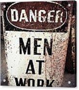 Men At Work Sign Acrylic Print