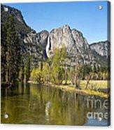 Merced River And Yosemite Falls Acrylic Print by Jane Rix