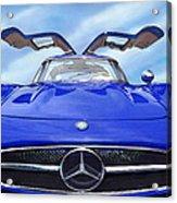 Mercedes Gullwing In Blue Acrylic Print