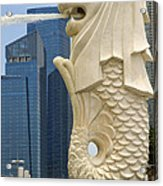 Merlion Statue By Singapore River Acrylic Print