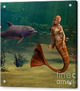 Mermaid And Dolphin Acrylic Print