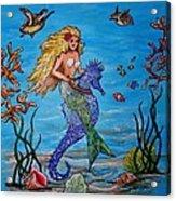 Mermaid And Seahorse Morning Swim Acrylic Print